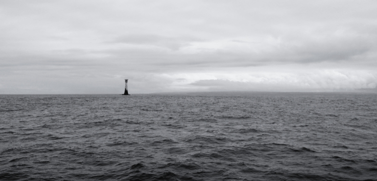 White Rock lighthouse, with Land's End in the background